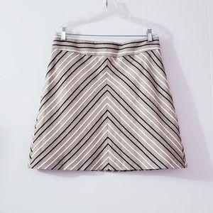 Ann Taylor Loft Chevron Peach Black A-Line Skirt